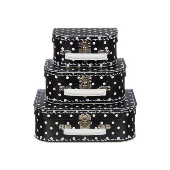 Babykamer koffertje zwart met witte stippen 16 cm