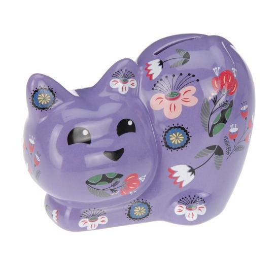 Spaarpot kat met bloemen. deze spaarpot in de vorm van een kat heeft aan de onderkant een hersluitbare ...