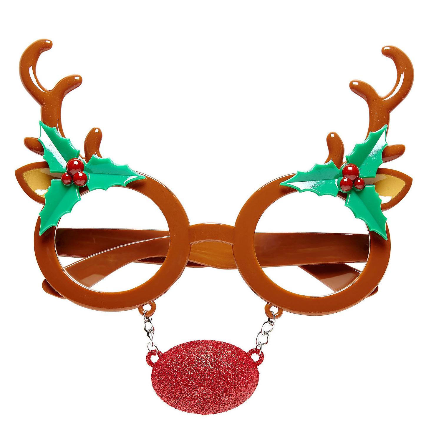 Rendier bril. een grappige bril met een rendier gewei en een rode rudolph neus. materiaal: plastic. geschikt ...