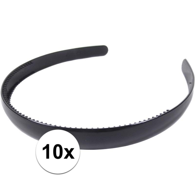 10x Zwarte dames diadeem-haarband 1,5 cm breed