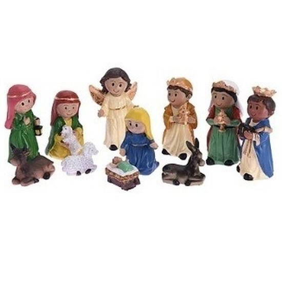 11x Kinder kerststal figuren-beelden 21 cm