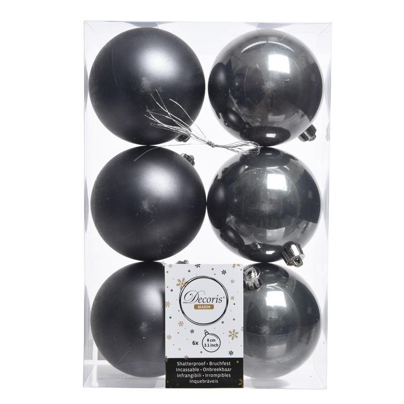 12x Antraciet kerstversiering kerstballen kunststof 8 cm