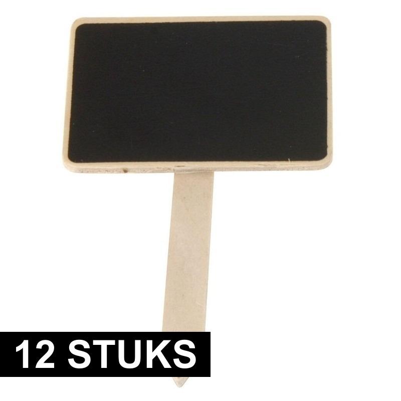 12x Plantenstekers schoolbord-krijtbord op stokje 12 cm