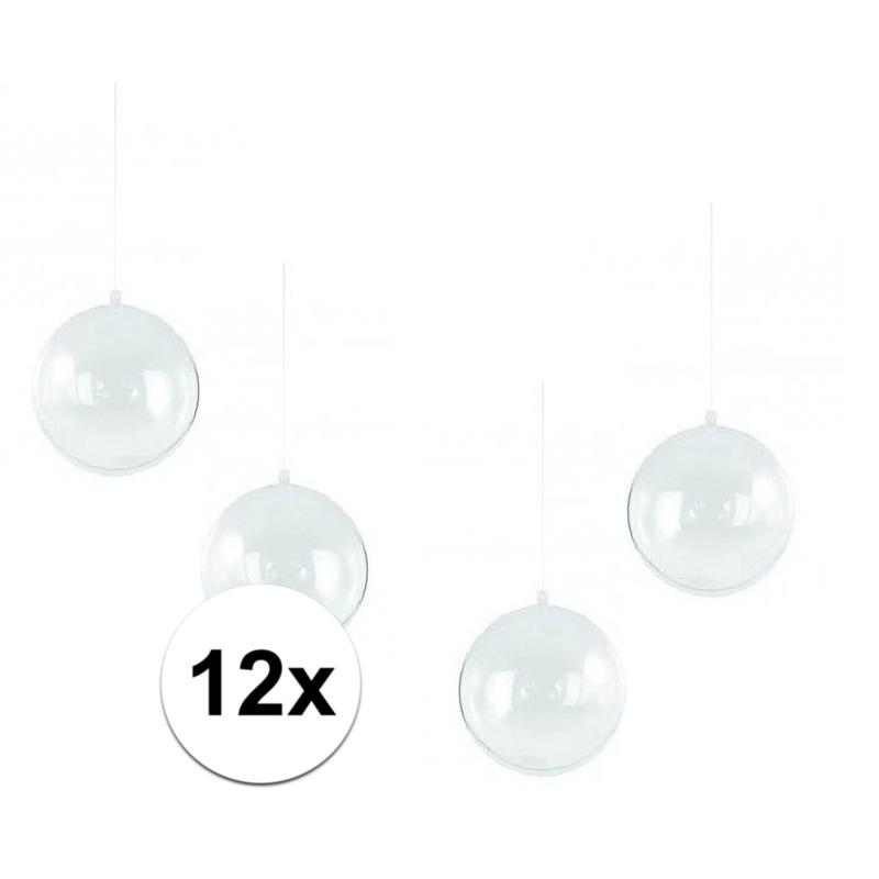 12x stuks transparante kerstballen 14 cm