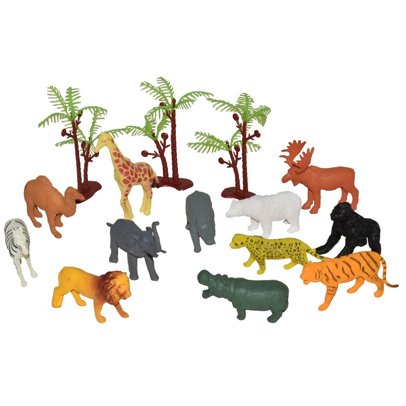 15x Plastic speelgoed wilde dieren in emmer
