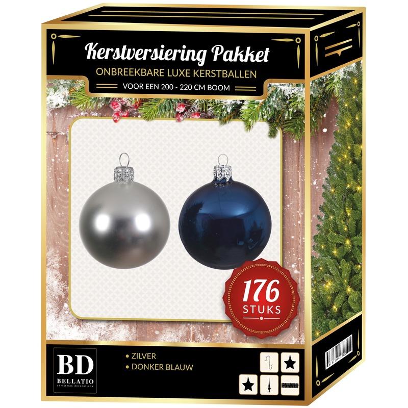 176 stuks Kerstballen mix zilver-donkerblauw voor 210 cm boom