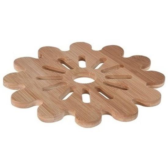 1x Bloem pannen onderzetter bamboe 20 cm