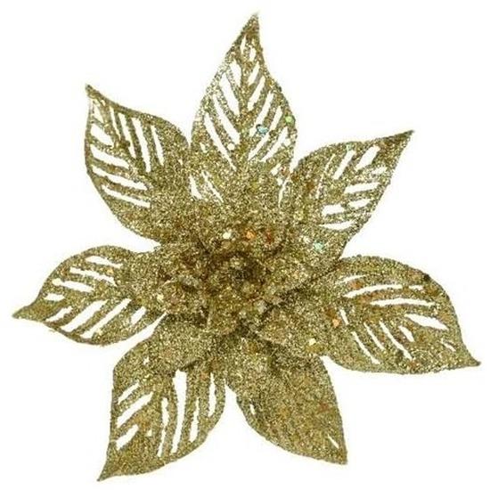 1x Kerstboomversiering op clip gouden glitter bloem 23 cm