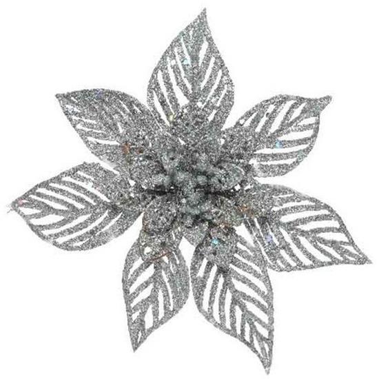 1x Kerstboomversiering op clip zilveren glitter bloem 23 cm