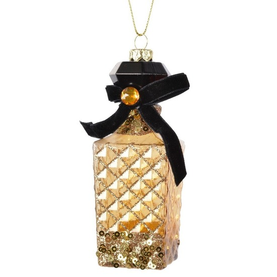 1x Kersthangers figuurtjes parfum flesje-geurtje goud 12 cm