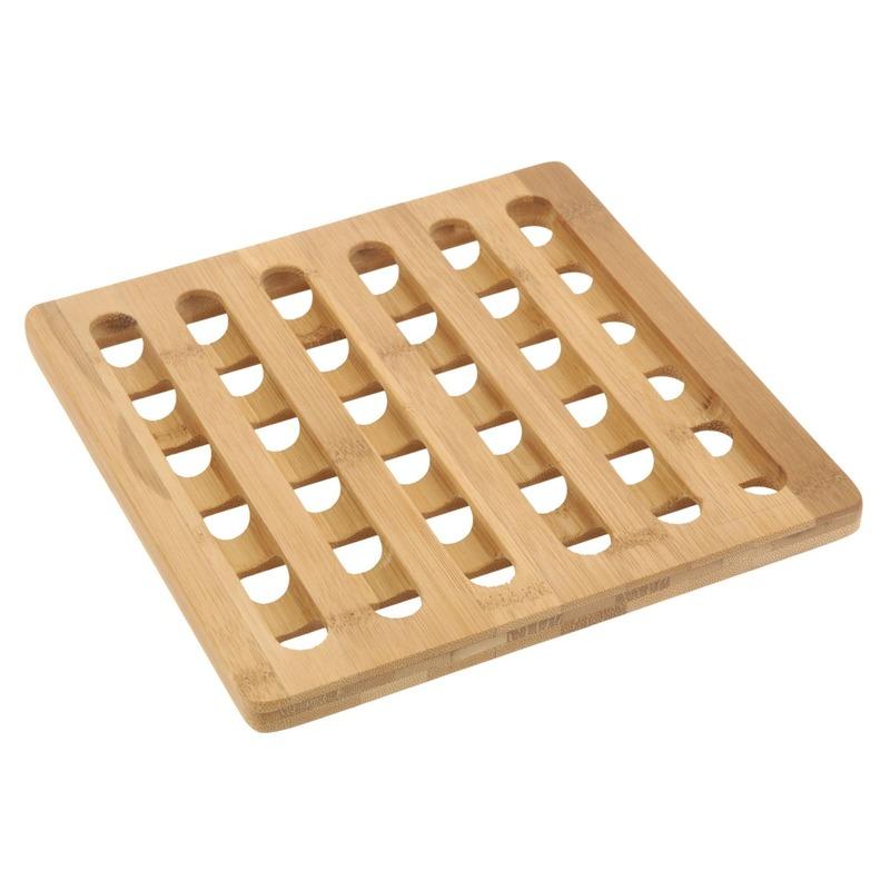 1x Vierkante pannen onderzetter bamboe 20 cm