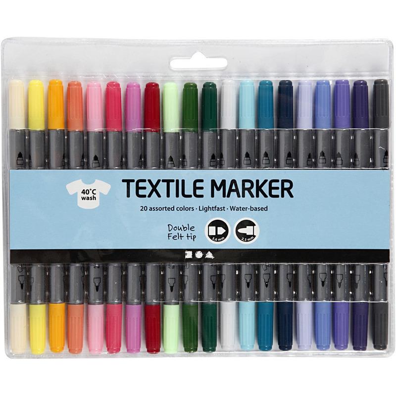 20x Gekleurde textielstiften op waterbasis