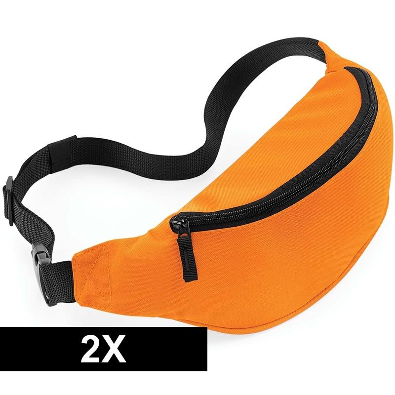 2x Heuptasjes-buideltasjes oranje 38 cm