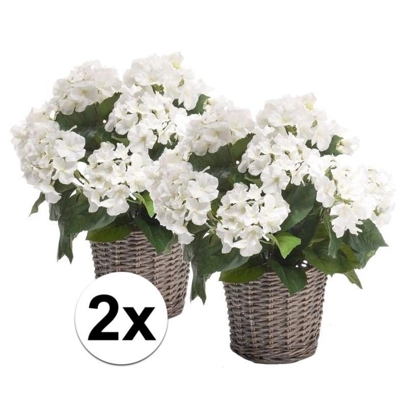 2x Kantoor decoratie Hortensia wit 45 cm