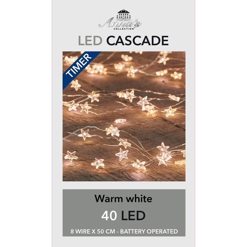 2x Kerst cascadeverlichting met timer 40 lampjes wit 8x 50 cm