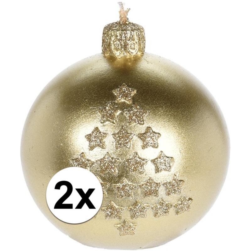 2x Kerst decoratie kaars gouden kerstballen