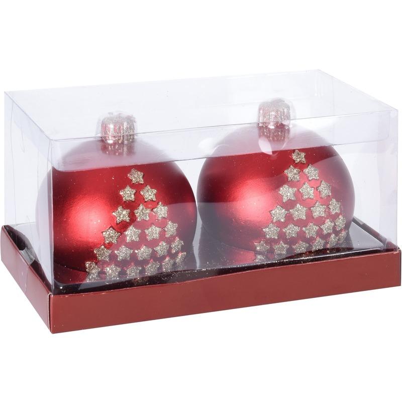 2x Kerst decoratie kaars rode kerstballen