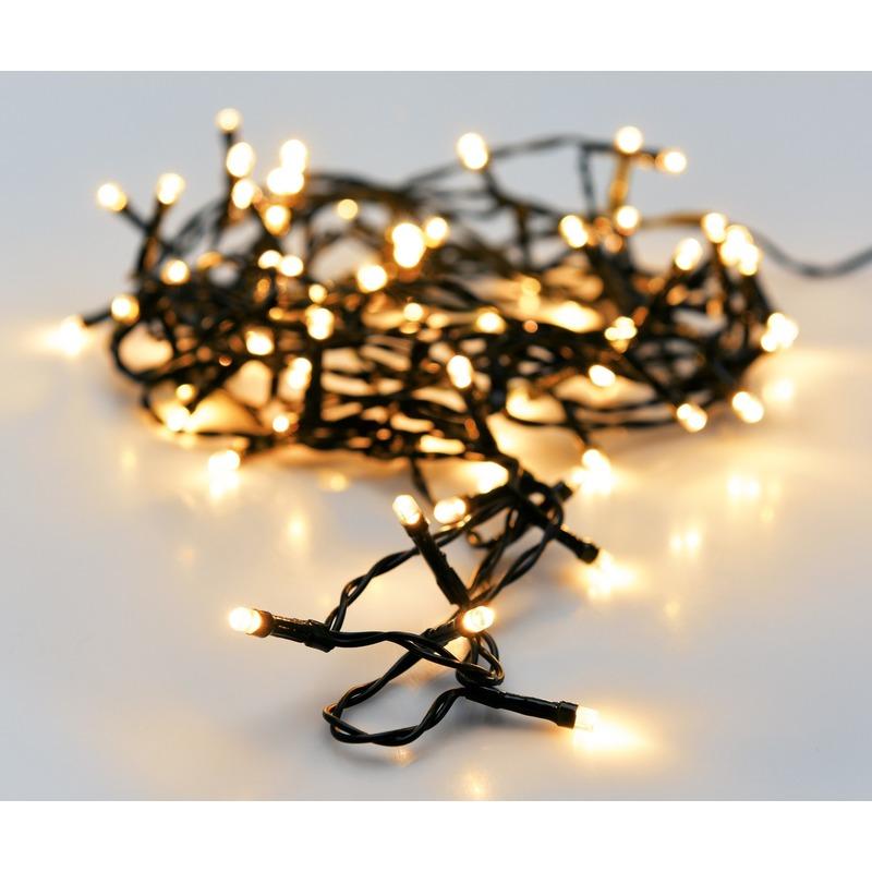 2x Kerst LED-verlichting op batterij 96 lampjes buiten 7 m