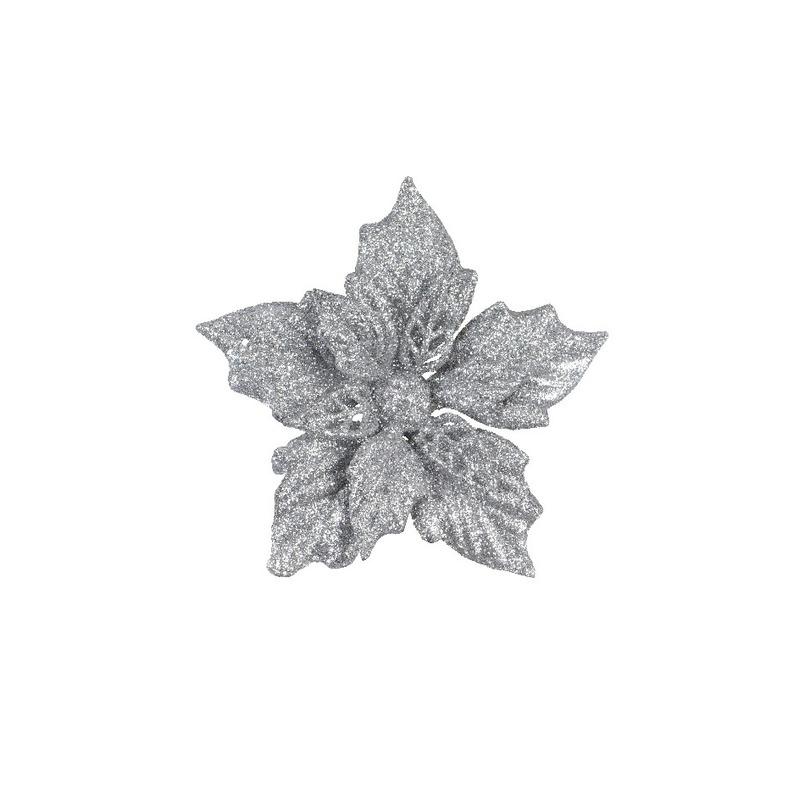 2x Kerstboomversiering bloem op clip zilveren kerstster 12 cm