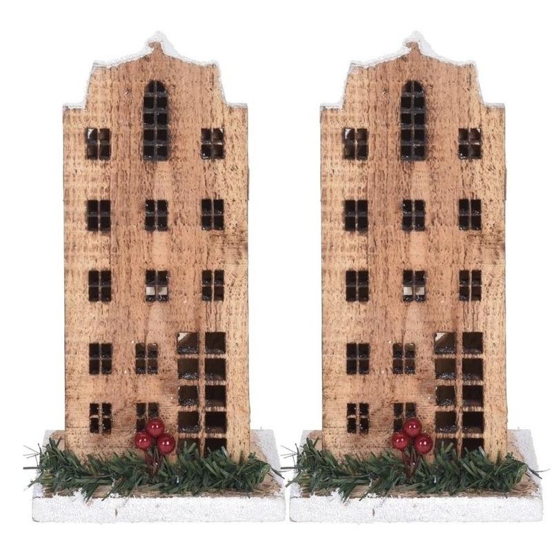 2x Kerstdorp kersthuisjes grachtenpanden 21 cm met LED