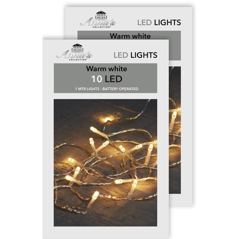 2x Kerstverlichting op batterijen warm wit 10 lampjes 100 cm