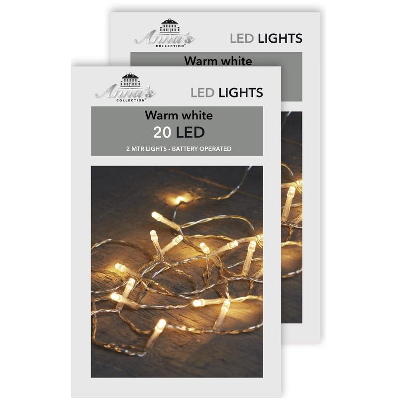 2x Kerstverlichting op batterijen warm wit 20 lampjes 200 cm