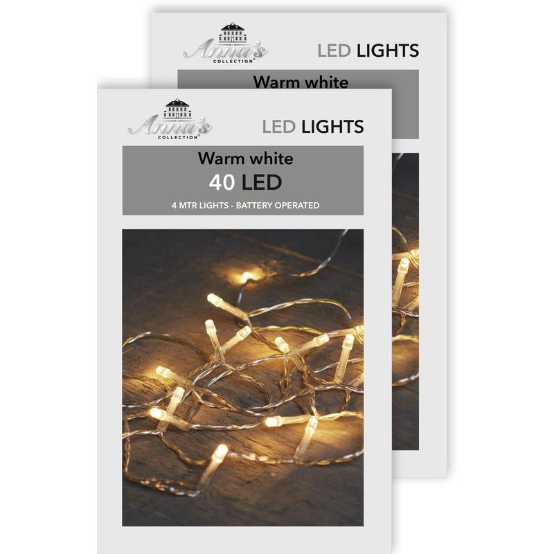 2x Kerstverlichting op batterijen warm wit 40 lampjes 400 cm
