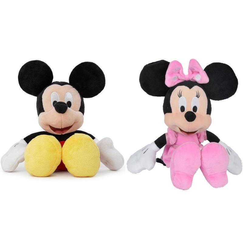 2x Mickey en Minnie Mouse knuffels set 25 cm Disney speelgoed