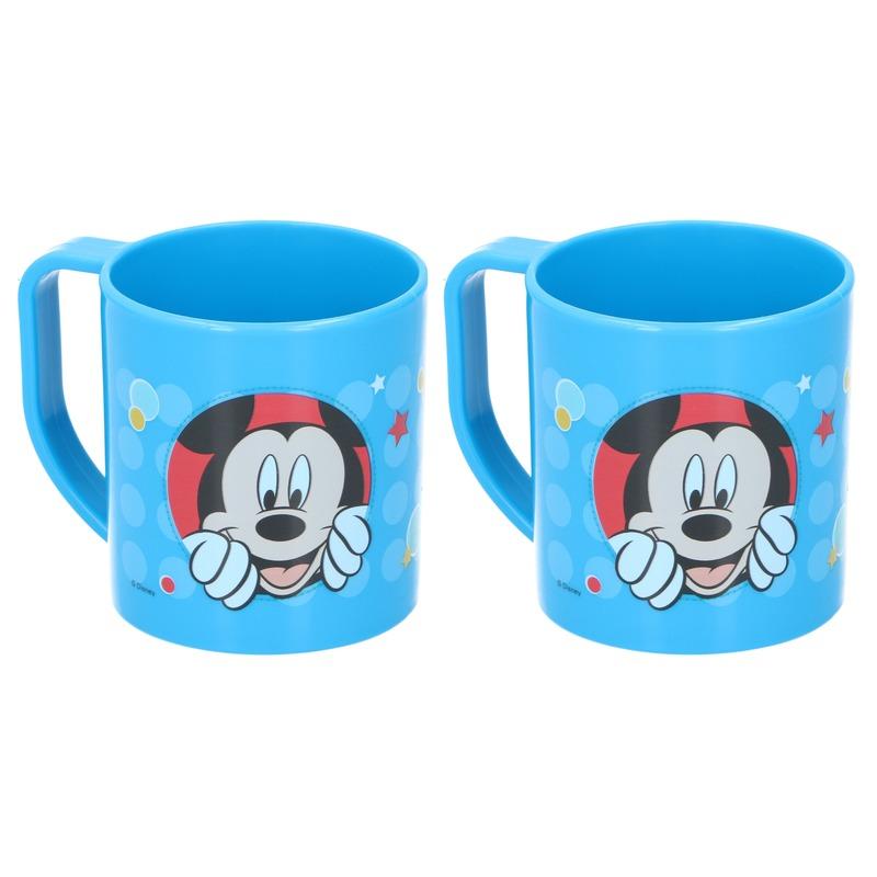 2x Mickey Mouse Disney mokken onbreekbare drinkbekers blauw