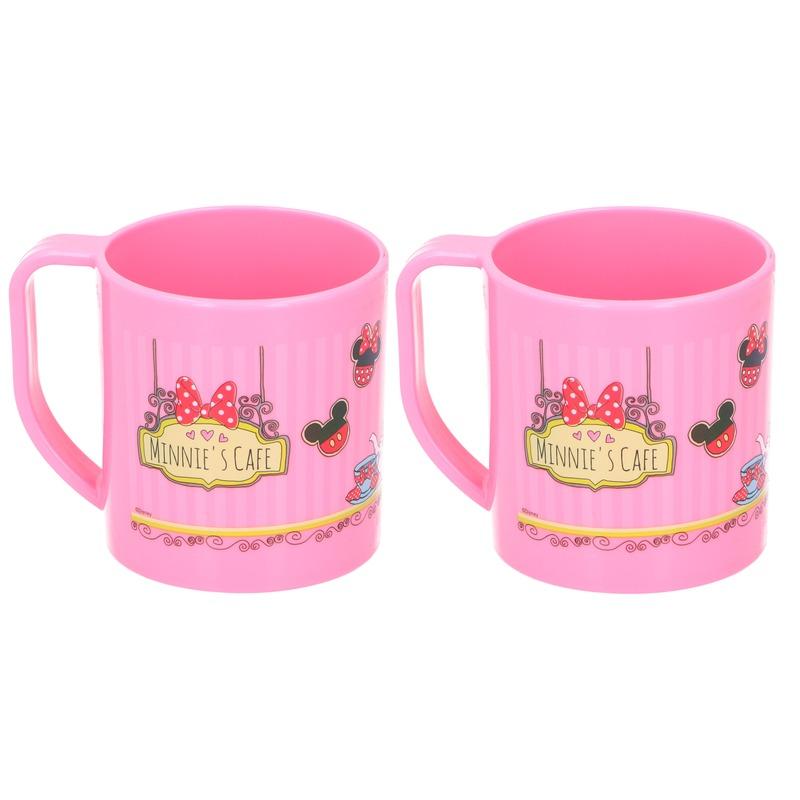 2x Minnie Mouse Disney mokken onbreekbare drinkbekers lichtroze