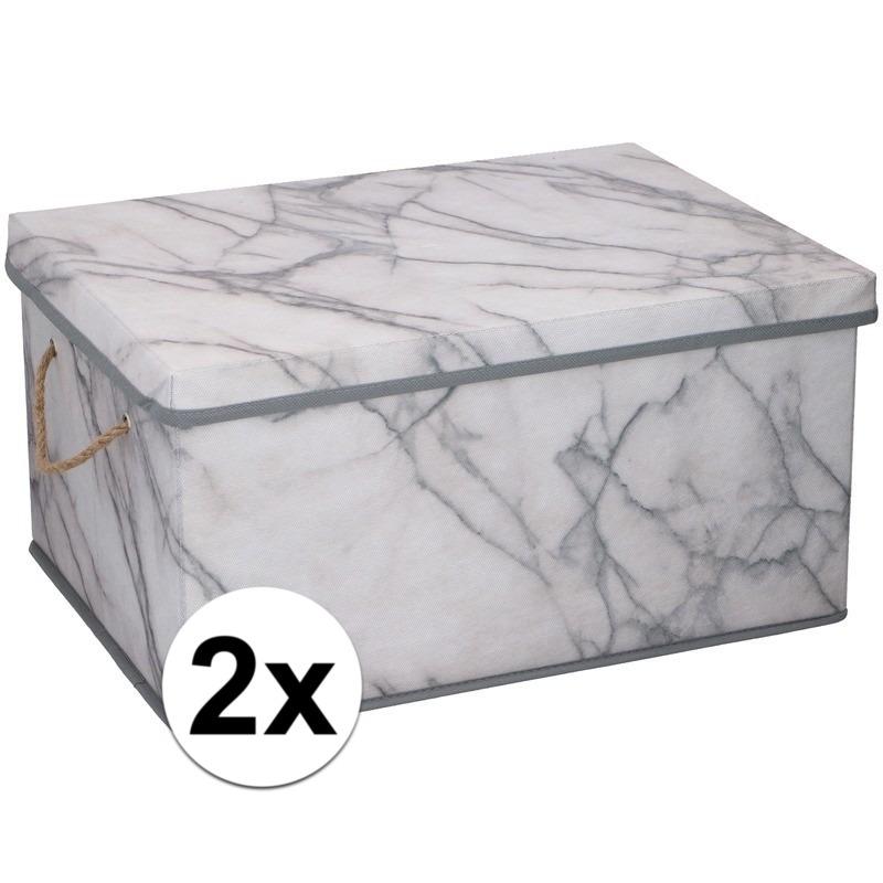 2x Opbergboxen-opbergdozen marmer 40 cm 25 liter
