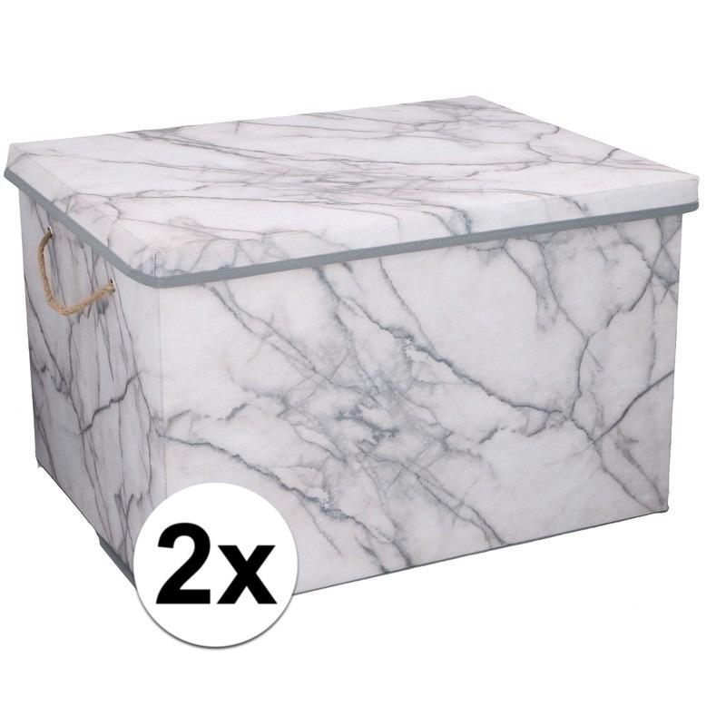2x Opbergboxen-opbergdozen marmer 50 cm 66 liter