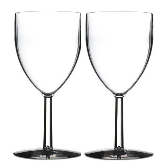 2x Rode wijn glazen van kunststof 300 ml