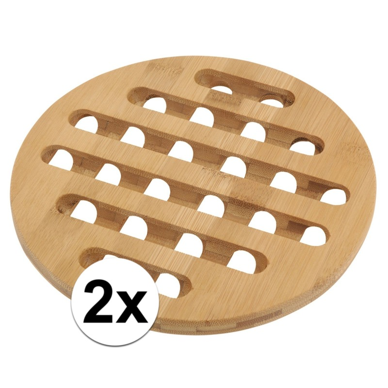 2x Ronde pannen onderzetter bamboe 20 cm