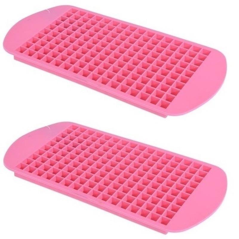 2x Roze mini ijsblokjes maker