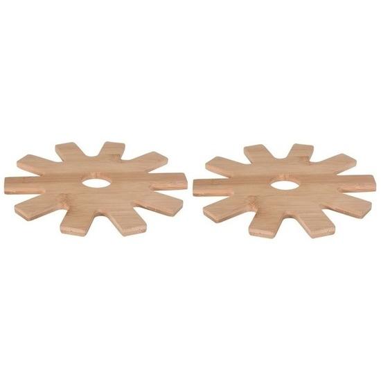 2x Tandwiel pannen onderzetters bamboe 20 cm
