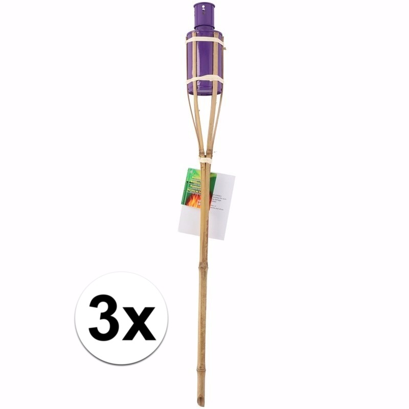 3 bamboe tuinfakkels paars 60 cm Geen Tuin artikelen
