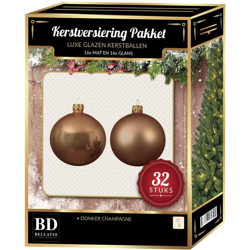 32 Stuks mix glazen Kerstballen pakket beige 6-8-10 cm