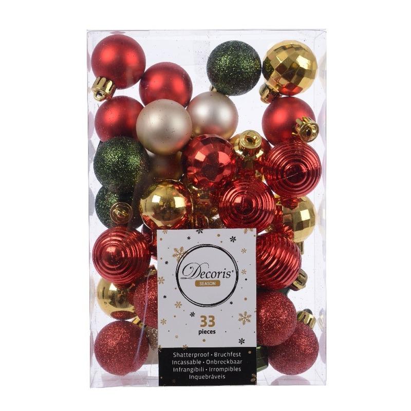 33x Kerstversiering kerstballen mix rood- champagne- goud- groen