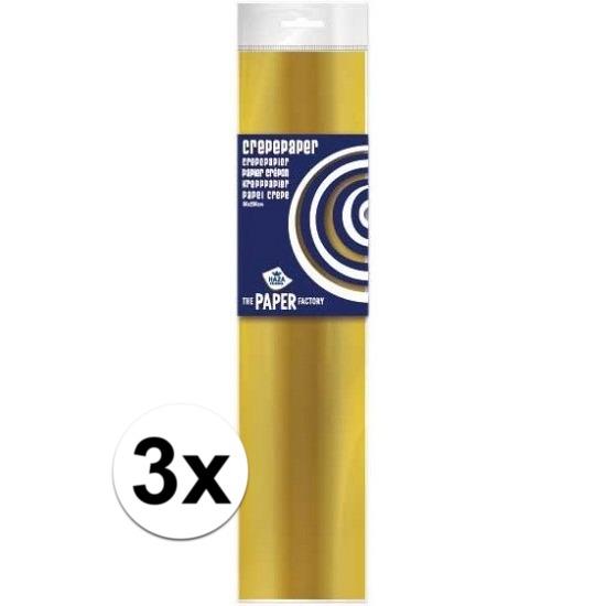 3x Crepe papier plat goud 250 x 50 cm knutsel materiaal