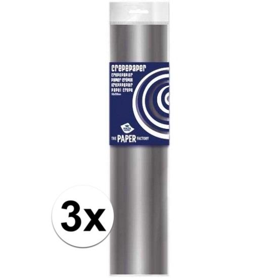 3x Crepe papier plat zilver 250 x 50 cm knutsel materiaal