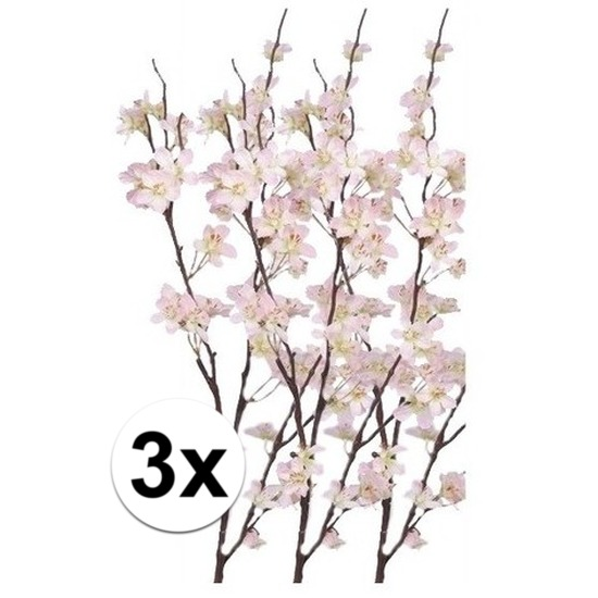 3x Decoratie appelbloesem tak roze 84 cm