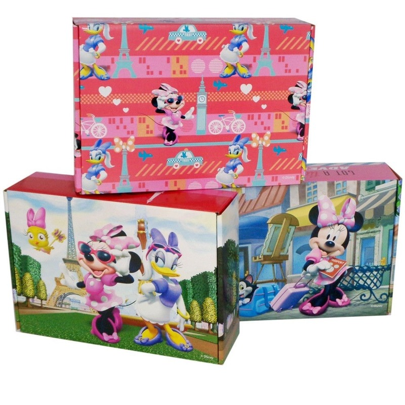 3x Disney Minnie-Katrien opbergboxen-opbergdozen van karton