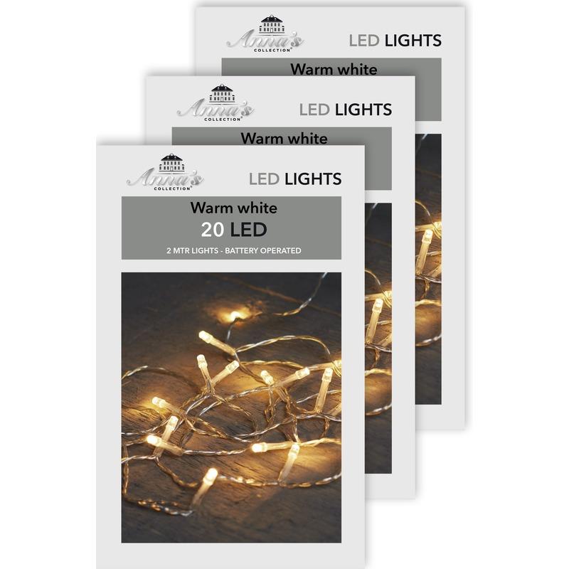 3x Kerstverlichting op batterijen warm wit 20 lampjes 200 cm