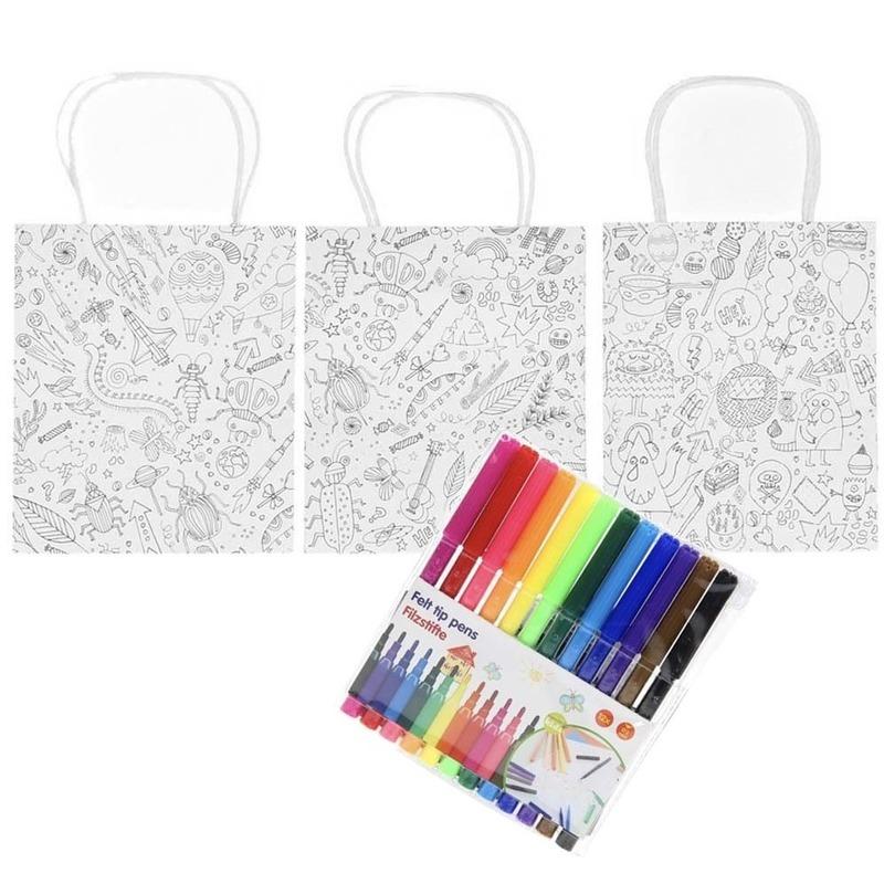 3x Knutsel papieren tasjes incl. 12 stiften voor kinderen