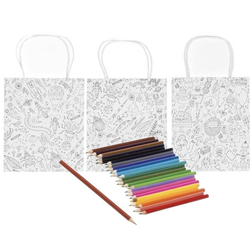 3x Knutsel papieren tasjes om in te kleuren incl. 24 potloden