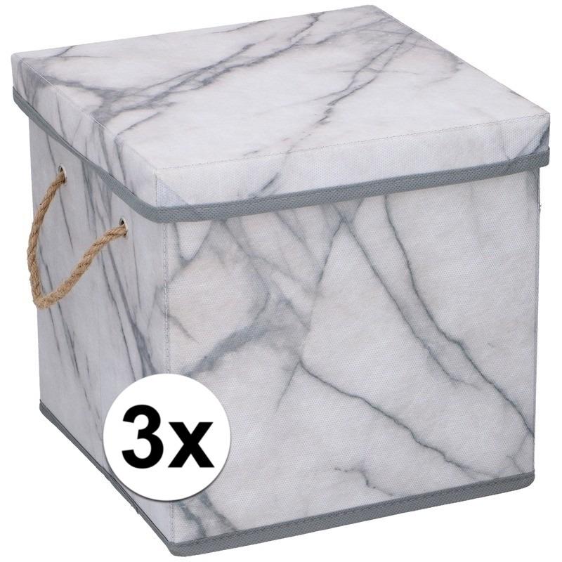 3x Opbergboxen-opbergdozen marmer 31 cm 44 liter