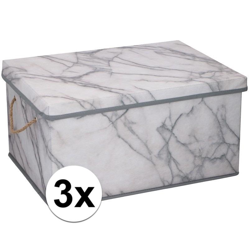 3x Opbergboxen-opbergdozen marmer 40 cm 25 liter