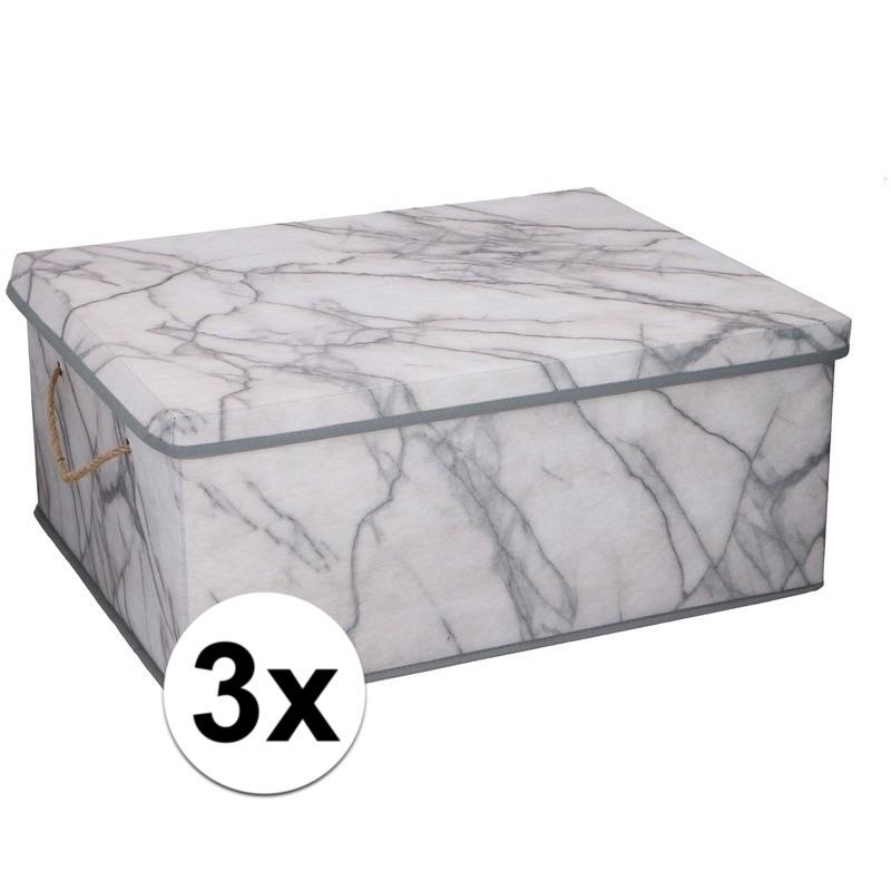 3x Opbergboxen-opbergdozen marmer 50 cm 44 liter
