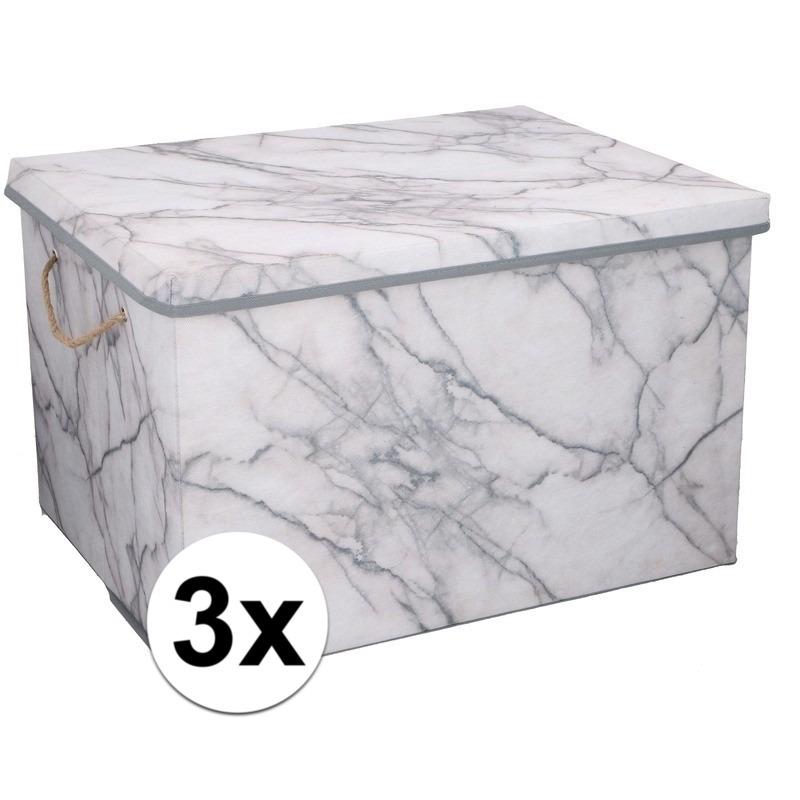 3x Opbergboxen-opbergdozen marmer 50 cm 66 liter